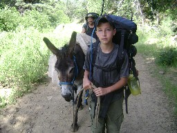 Leading a burro from Pueblano to Ponil