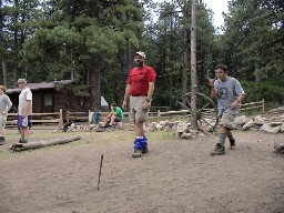 Throwing 'shoes in front of the Clark's Fork Cabin